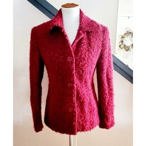 🎉Neiman Marcus Red Tweed Button Down Jacket🎉